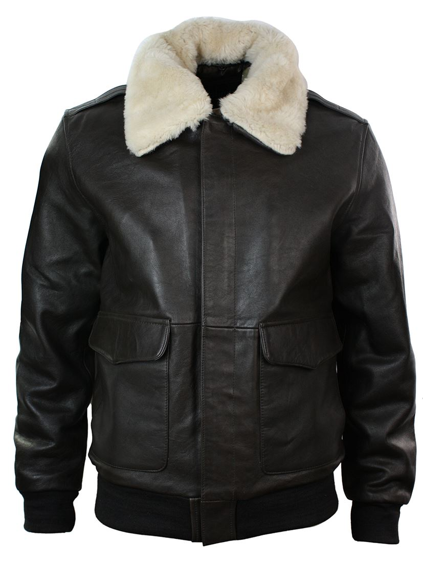 Mens-Real-Fur-Collar-Leather-Bomber-Pilot-Flying- - Mens Real Fur Collar Leather Bomber Pilot Flying Jacket Black