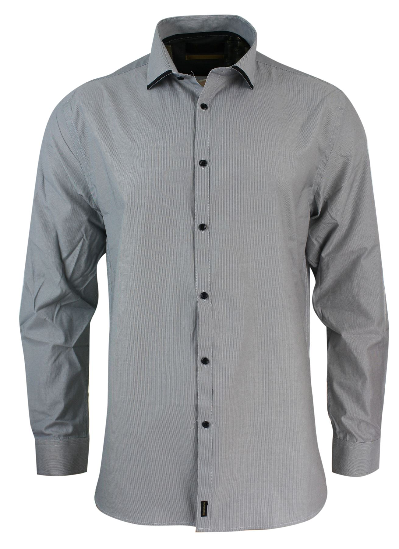mens italian design button grey amp black shirt tailored