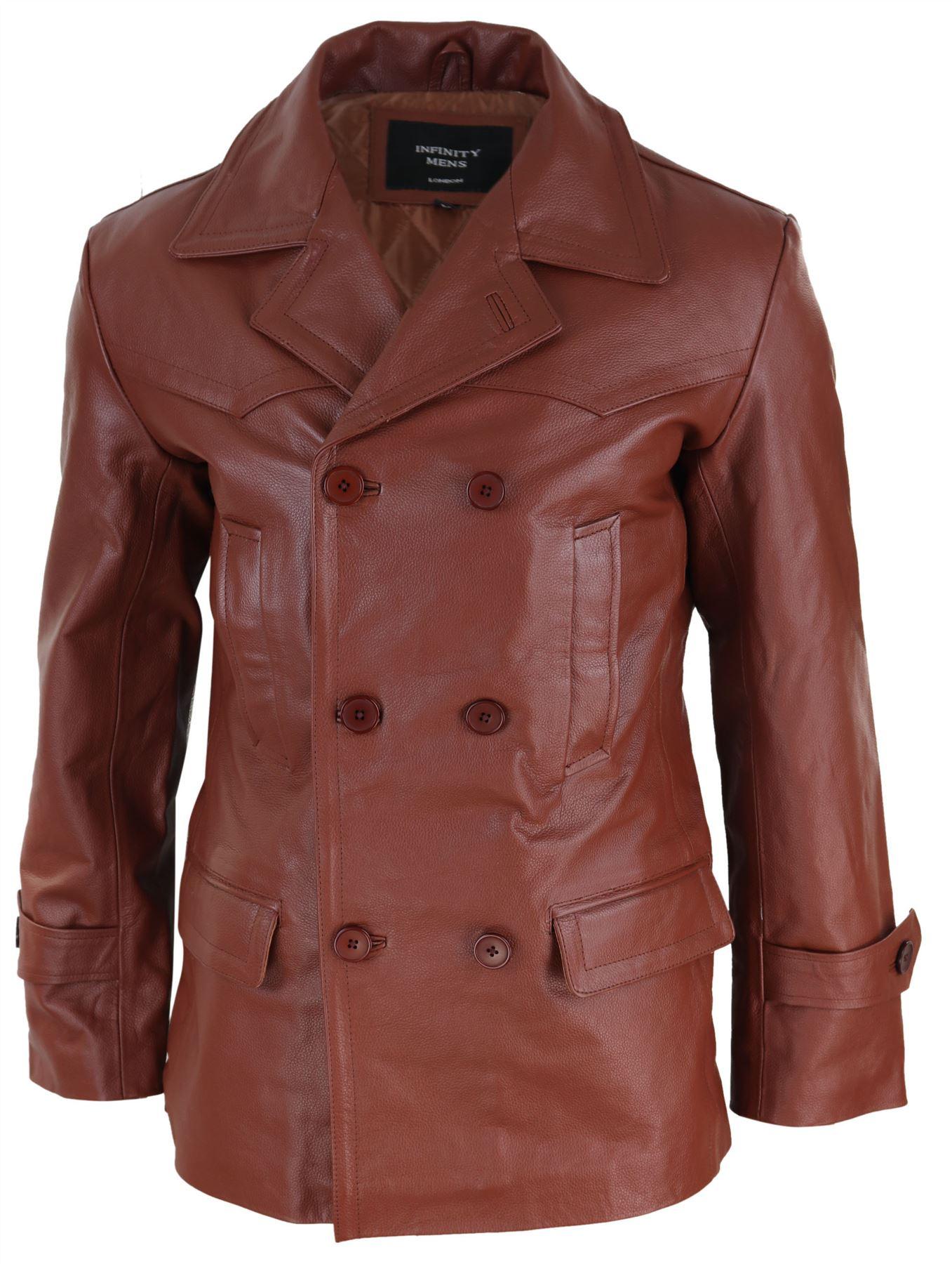 Mens Long 3//4 Black Real Leather German Generals Jacket Punk Rock Emo