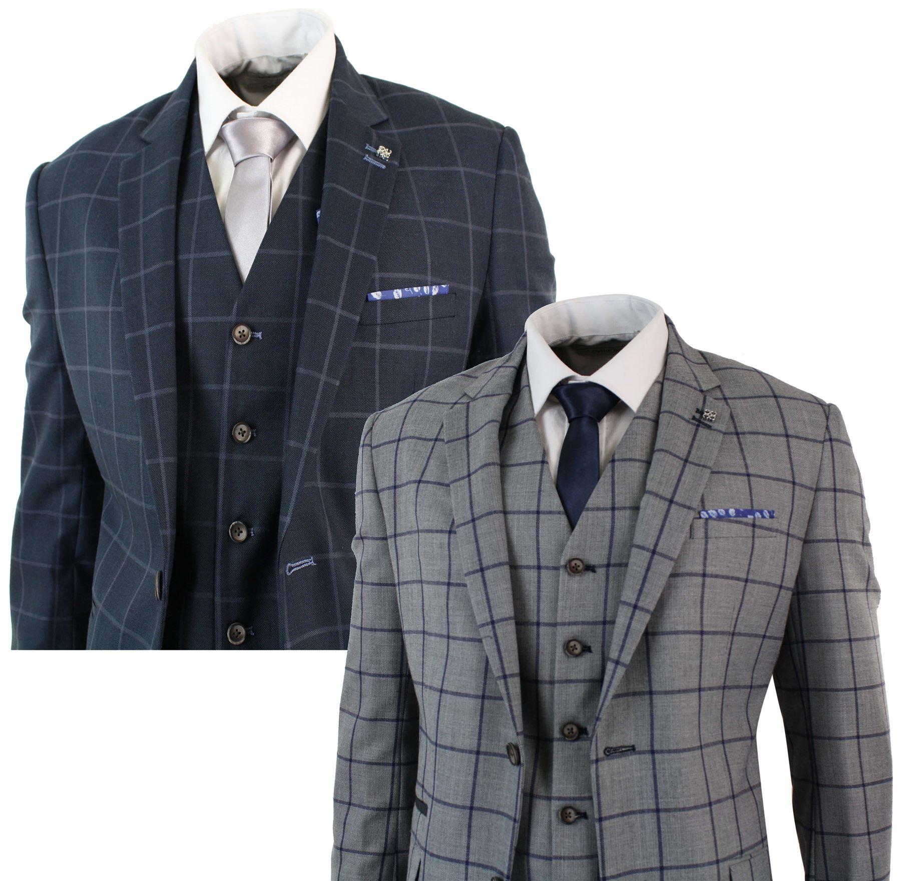 low priced 66398 76717 Details zu Herrenanzug 3 Teilig Grau Blau Tailored Fit Kariert Klassisch  Vintage Retro