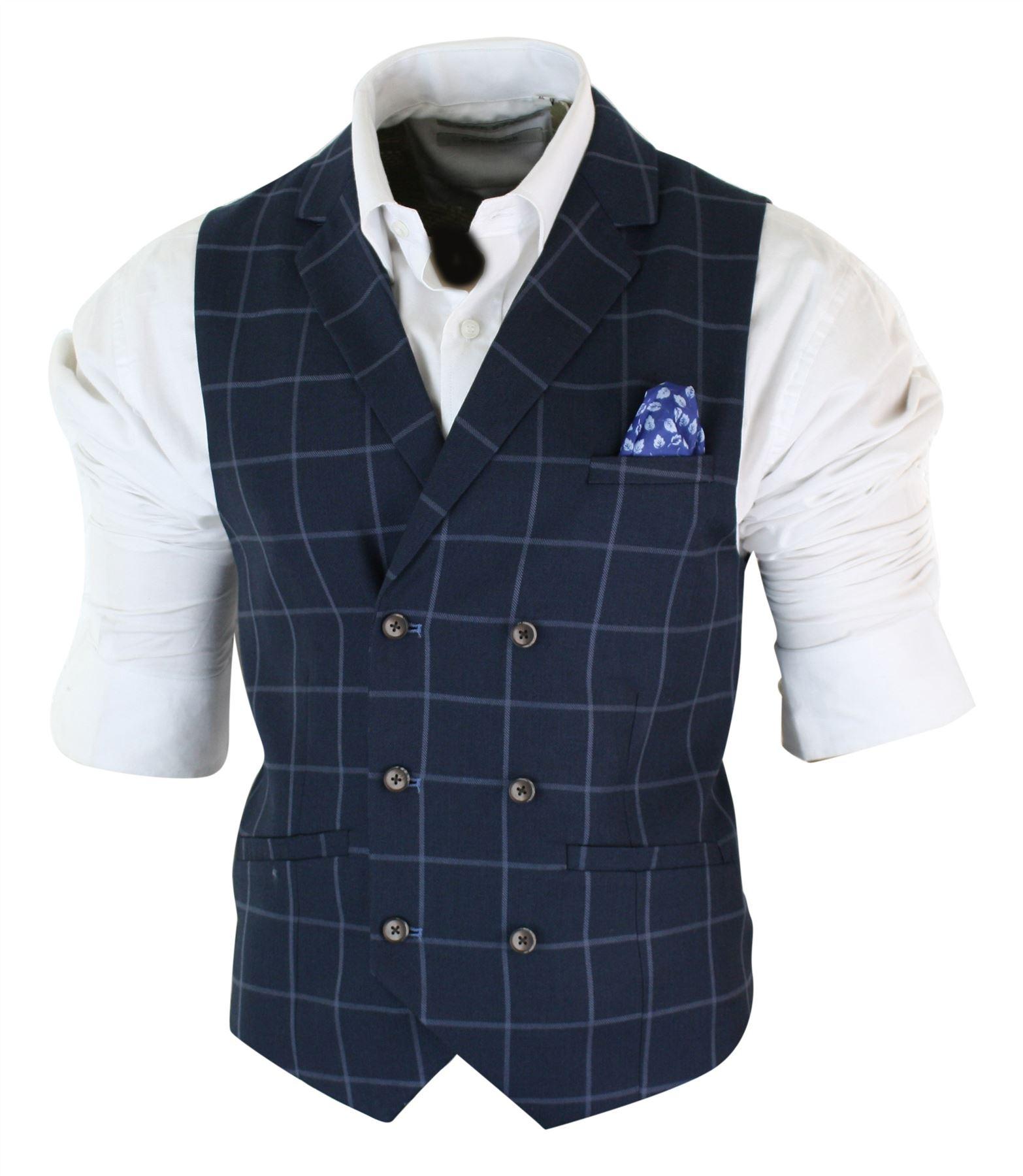 Mens-Double-Breasted-Herringbone-Tweed-Peaky-Blinders-Vintage-Check-Waistcoat miniatuur 7