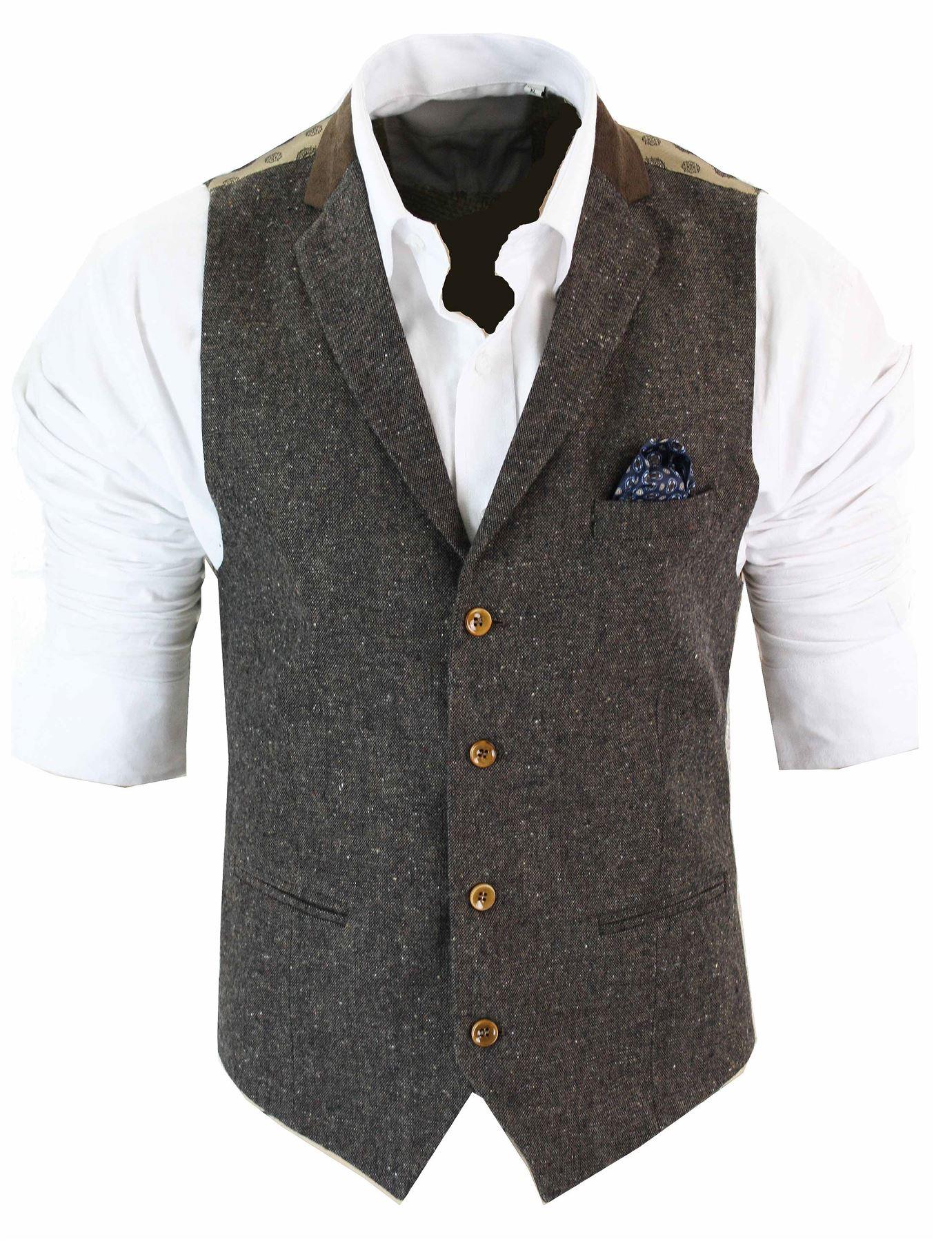 Herrenweste Braun Grau Schwarz Creme Tweed Fischgräte Vintage Eng  eBay
