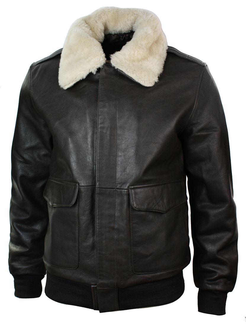 Mens Real Fur Collar Leather Bomber Pilot Flying Jacket Black Brown ... b1b26884f37