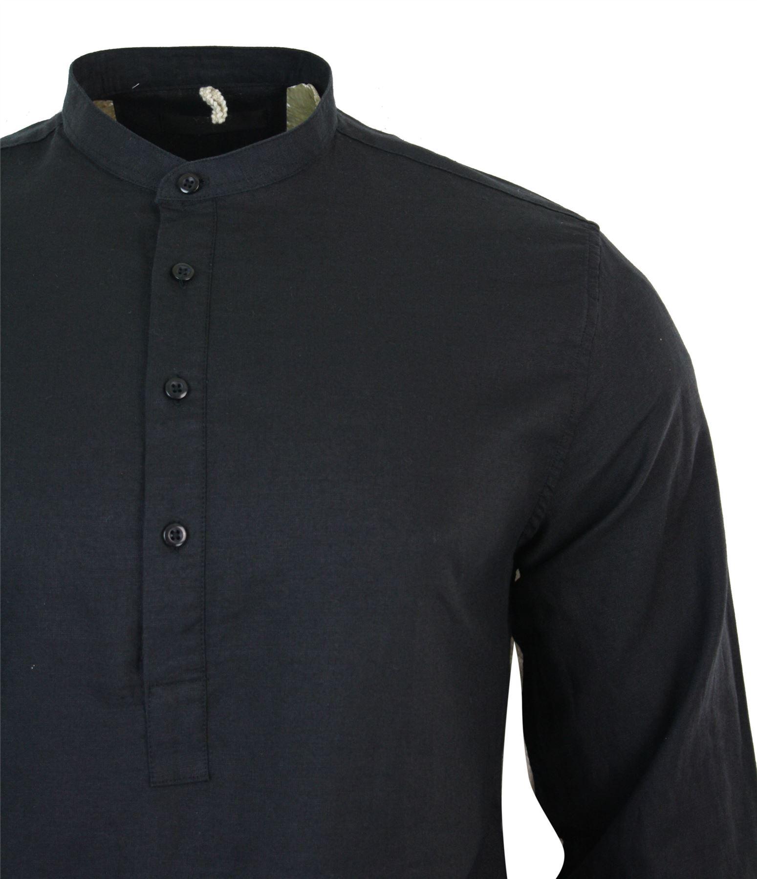 Mens Cotton Linen Grandad Nehru Collar Half Button Placket Shirt