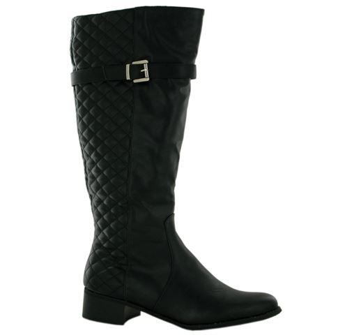 Bottes-femmes-hauteur-genou-matelassage-simili-talon-epais-couleur-noir-gris