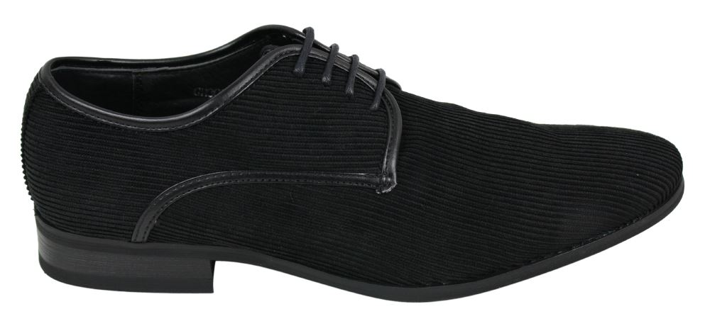 Mens Black Brown Navy Corduroy Style Laced Shoes Leather Inner Smart Casual