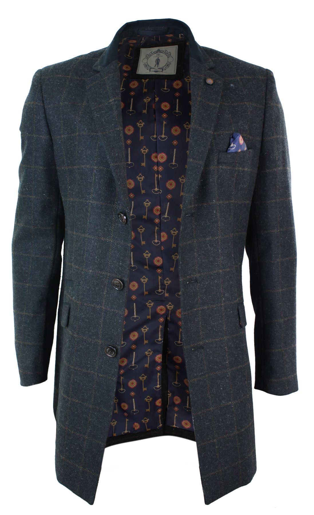 manteau homme veste 3 4 gris marron tweed laine chevrons et carreaux hiver ebay. Black Bedroom Furniture Sets. Home Design Ideas