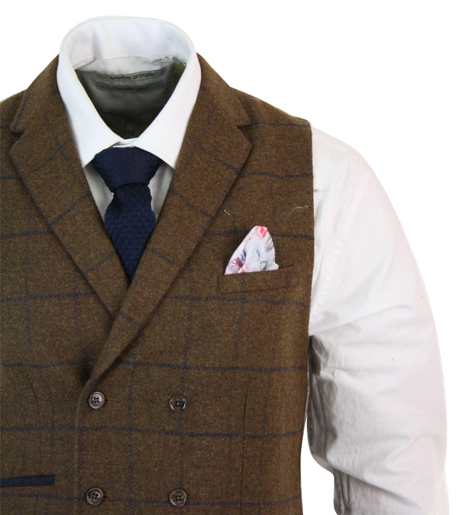 Mens-Double-Breasted-Herringbone-Tweed-Peaky-Blinders-Vintage-Check-Waistcoat miniatuur 24