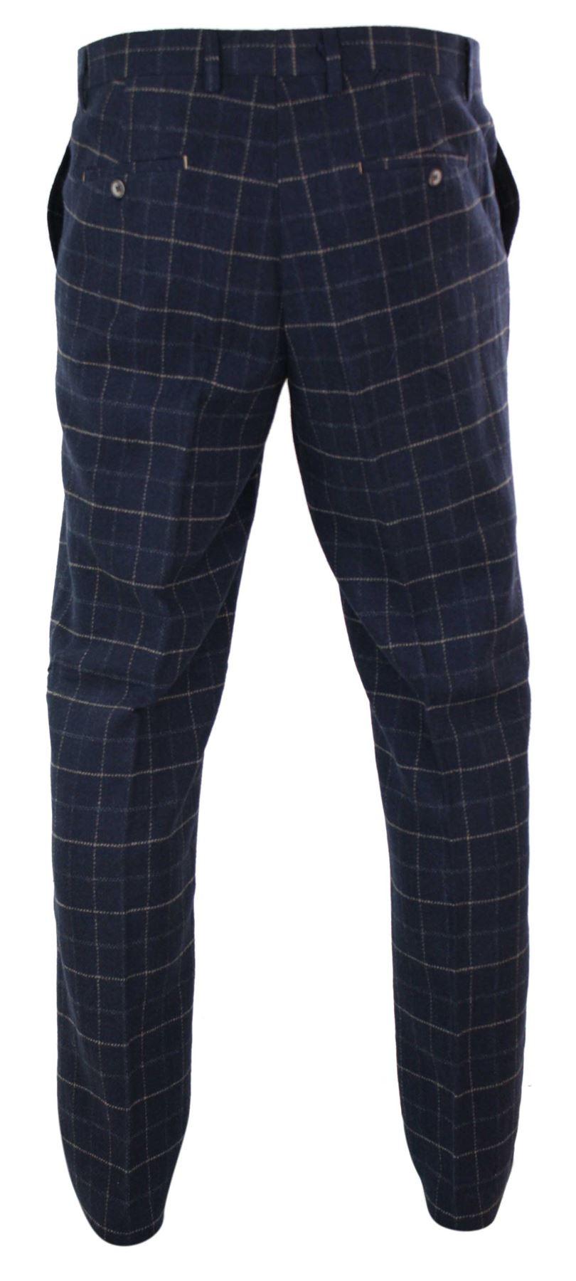 Mens-Herringbone-Tweed-Check-Peaky-Blinders-Trousers-Wool-Vintage-Classic-Retro thumbnail 17