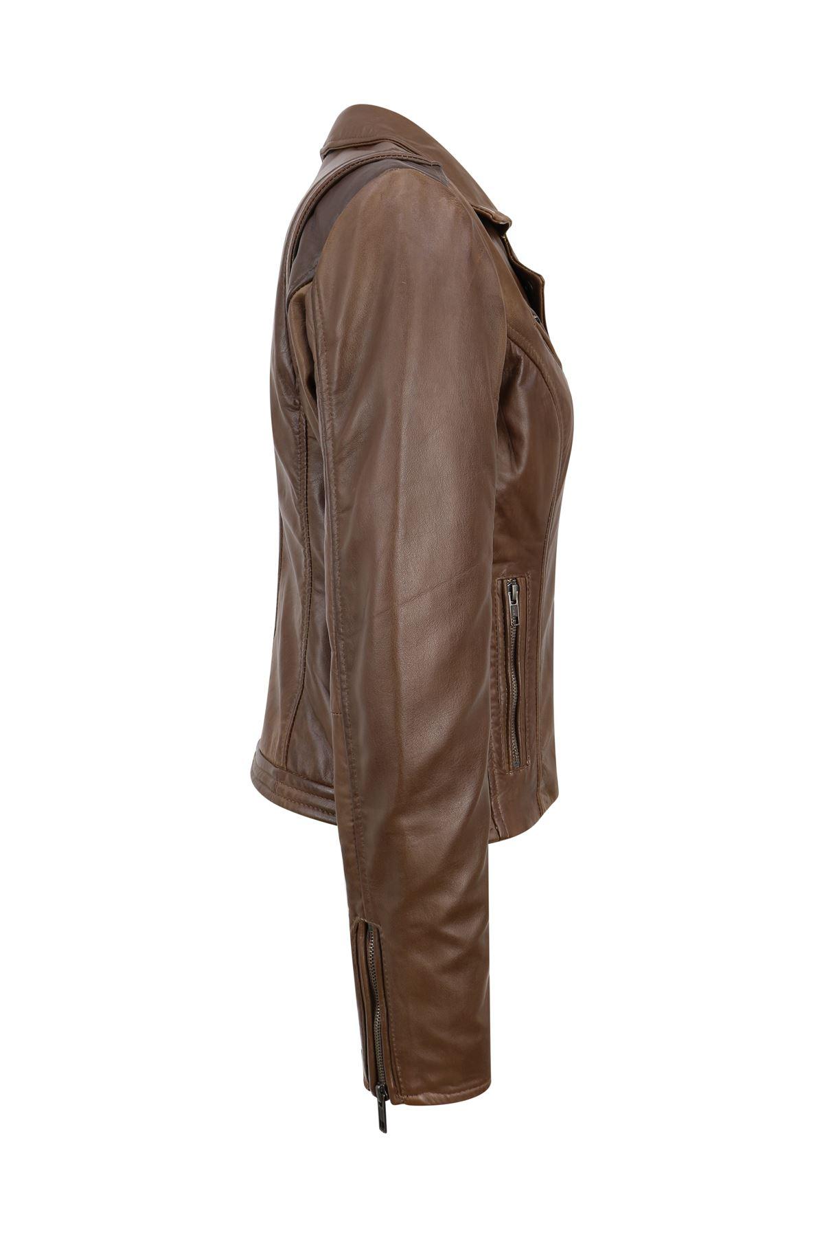 Blouson-femme-cuir-Napa-veritable-fermeture-zip-diagonale-ajuste miniature 4