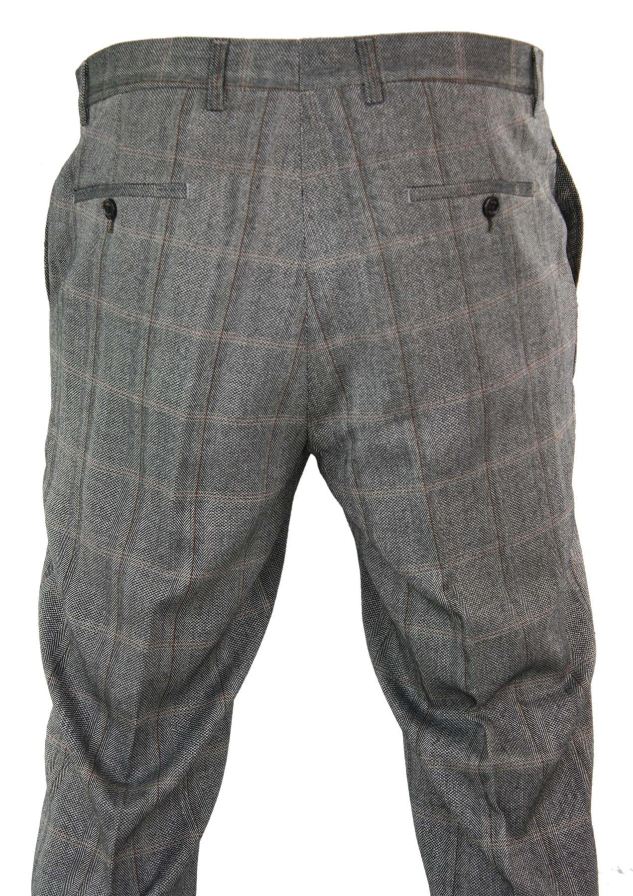 Mens-Herringbone-Tweed-Check-Peaky-Blinders-Trousers-Wool-Vintage-Classic-Retro thumbnail 11