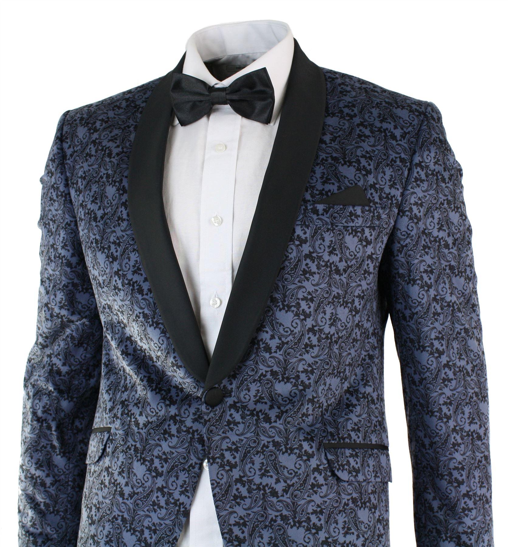 Mens jacket marks and spencer - Mens Slim Fit Velvet Paisley Blazer Trouser Tuxedo Dinner Suit Light Blue Black