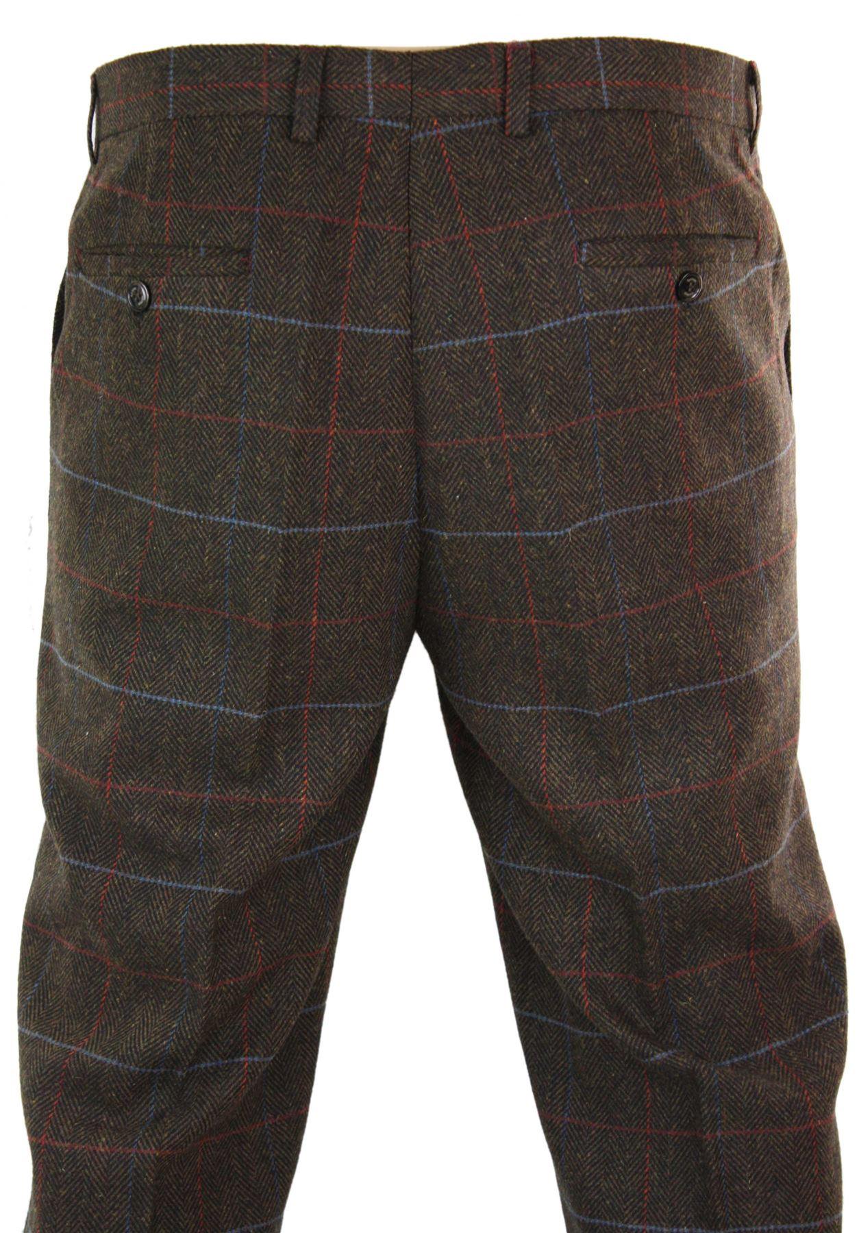 Mens-Herringbone-Tweed-Check-Peaky-Blinders-Trousers-Wool-Vintage-Classic-Retro thumbnail 19