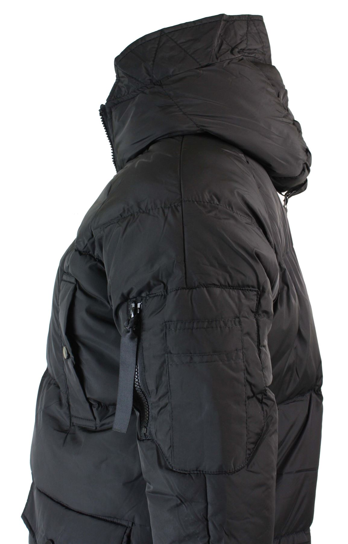34f88a9468de7 Mens Puffer Quilted Long 3 4 Hood Jacket Over Coat Casual Warm Down ...