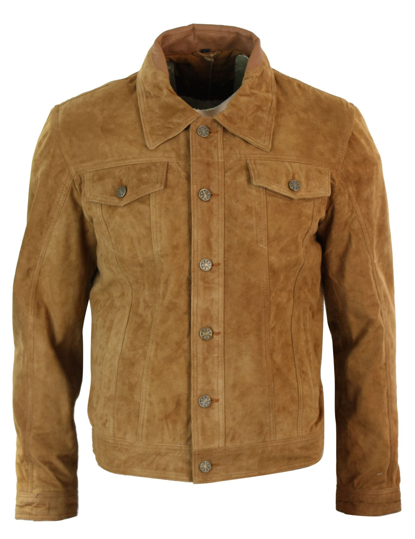 Mens leather jean jacket