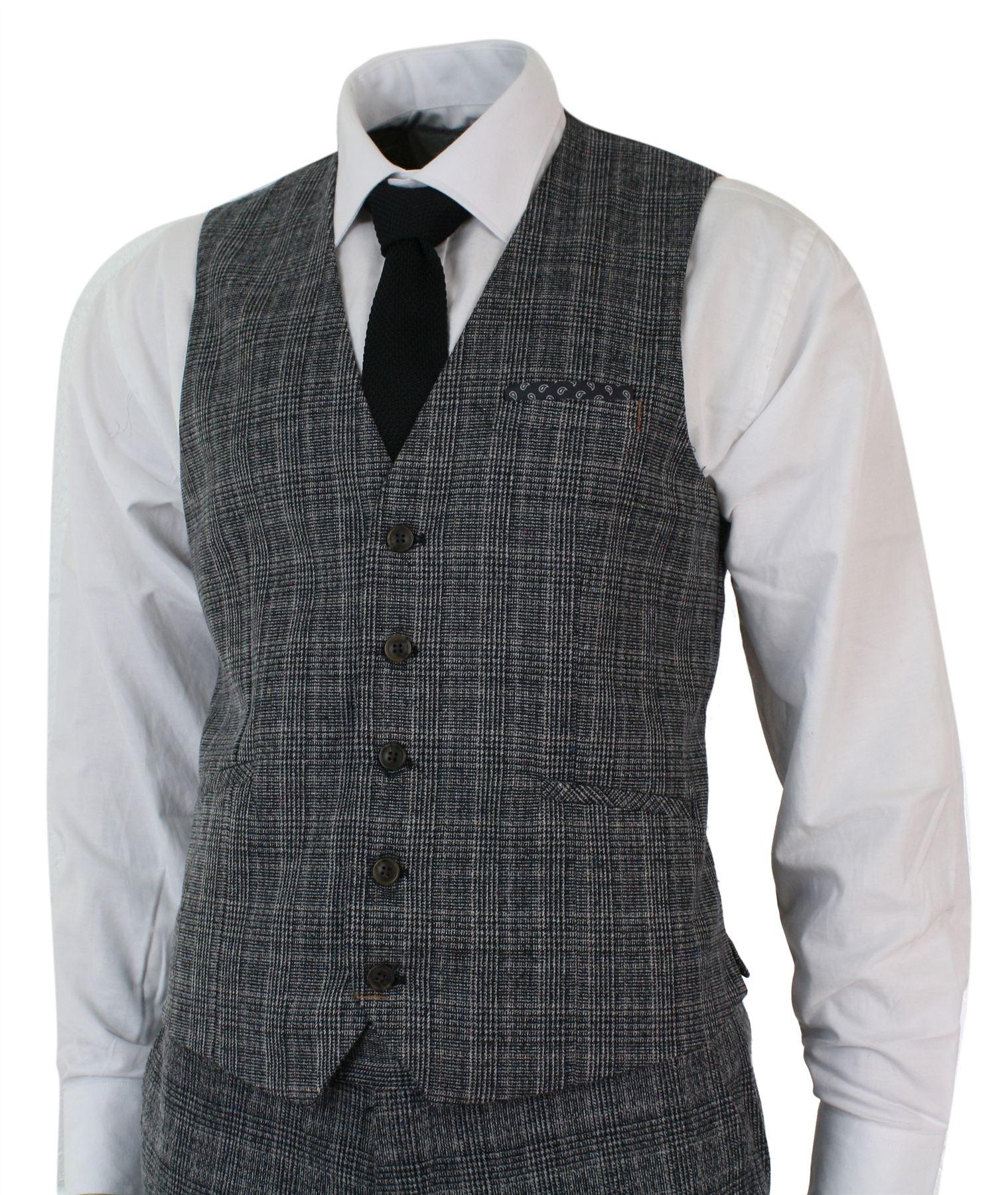 Mens Check Vintage Retro Herringbone Tweed Grey Black 3 ...