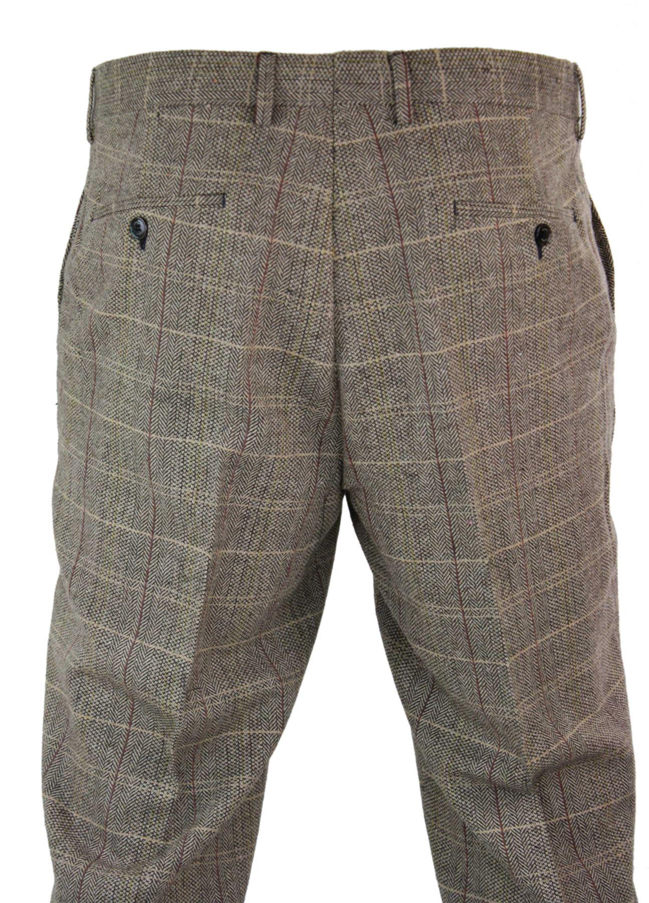 Mens-Herringbone-Tweed-Check-Peaky-Blinders-Trousers-Wool-Vintage-Classic-Retro thumbnail 7