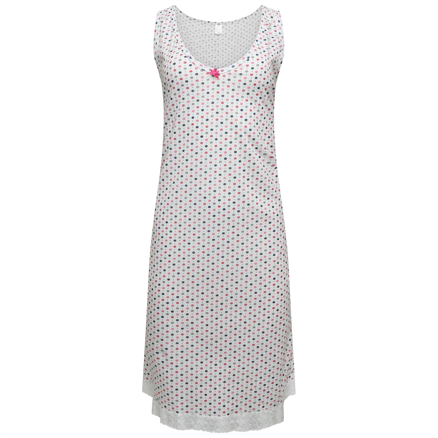 Details about Ladies Sleeveless Nightie Womens Cotton Nightdress V-Neck  Spotted Design M-2XL 788706cae