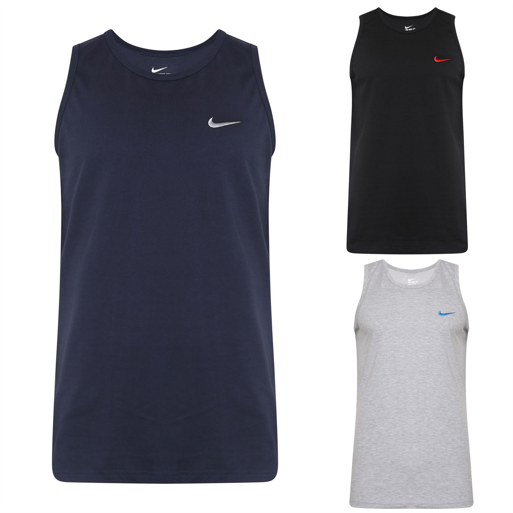 f4c1c36bfbd2 Details about New Men s Nike Logo Vest Tank Top Sleeveless T-Shirt Singlet  - Black Navy Grey