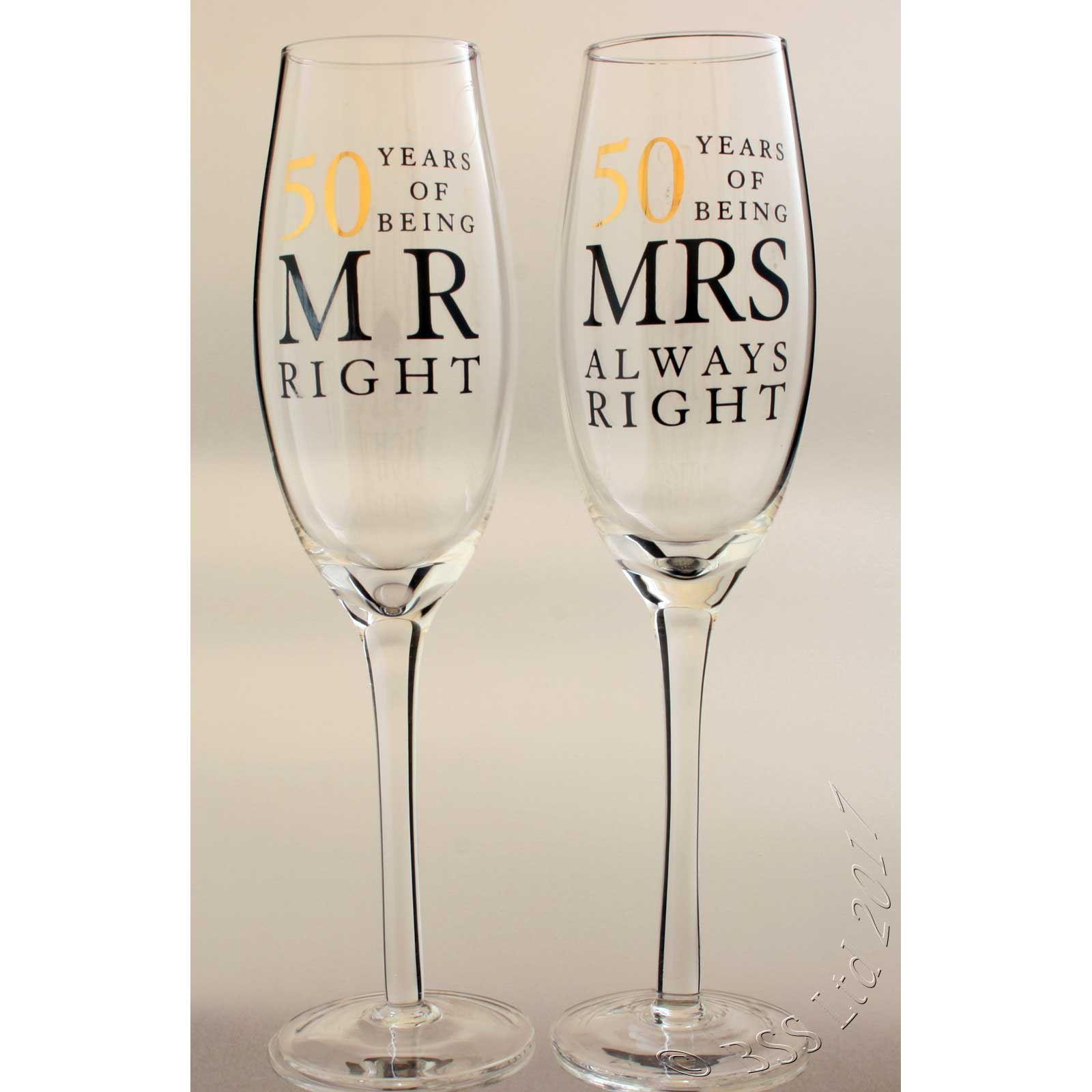 50th Wedding Anniversary Mr & Mrs Right Champagne Glasses Gift Set ...
