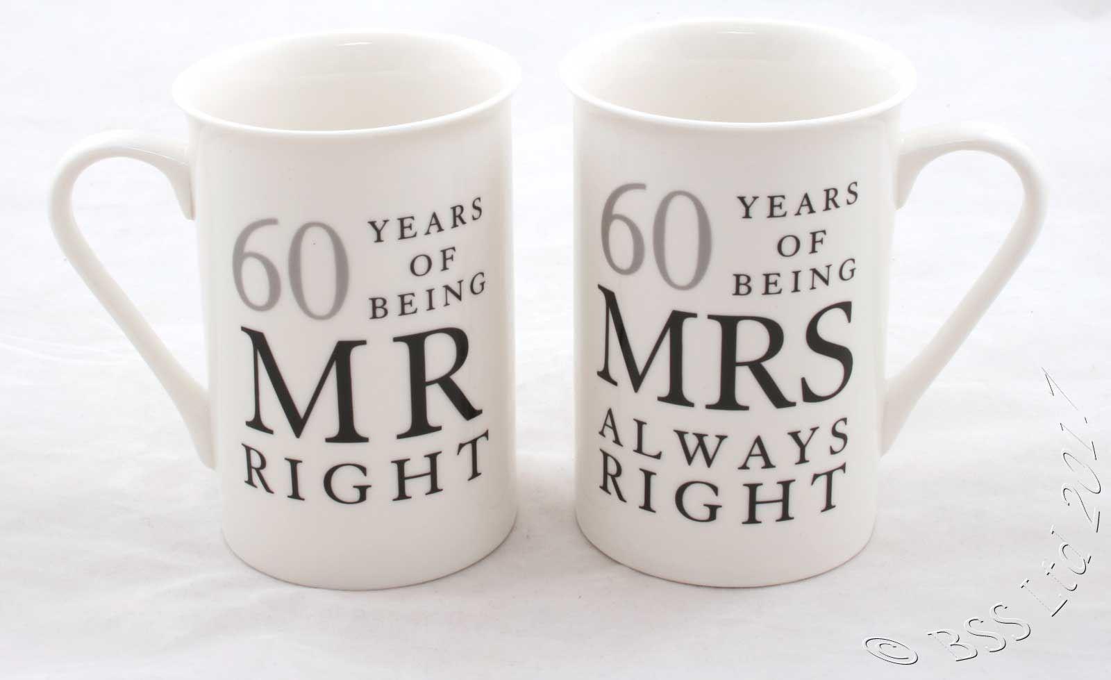 Wedding Anniversary Gift Set Mr Mrs Right Mugs