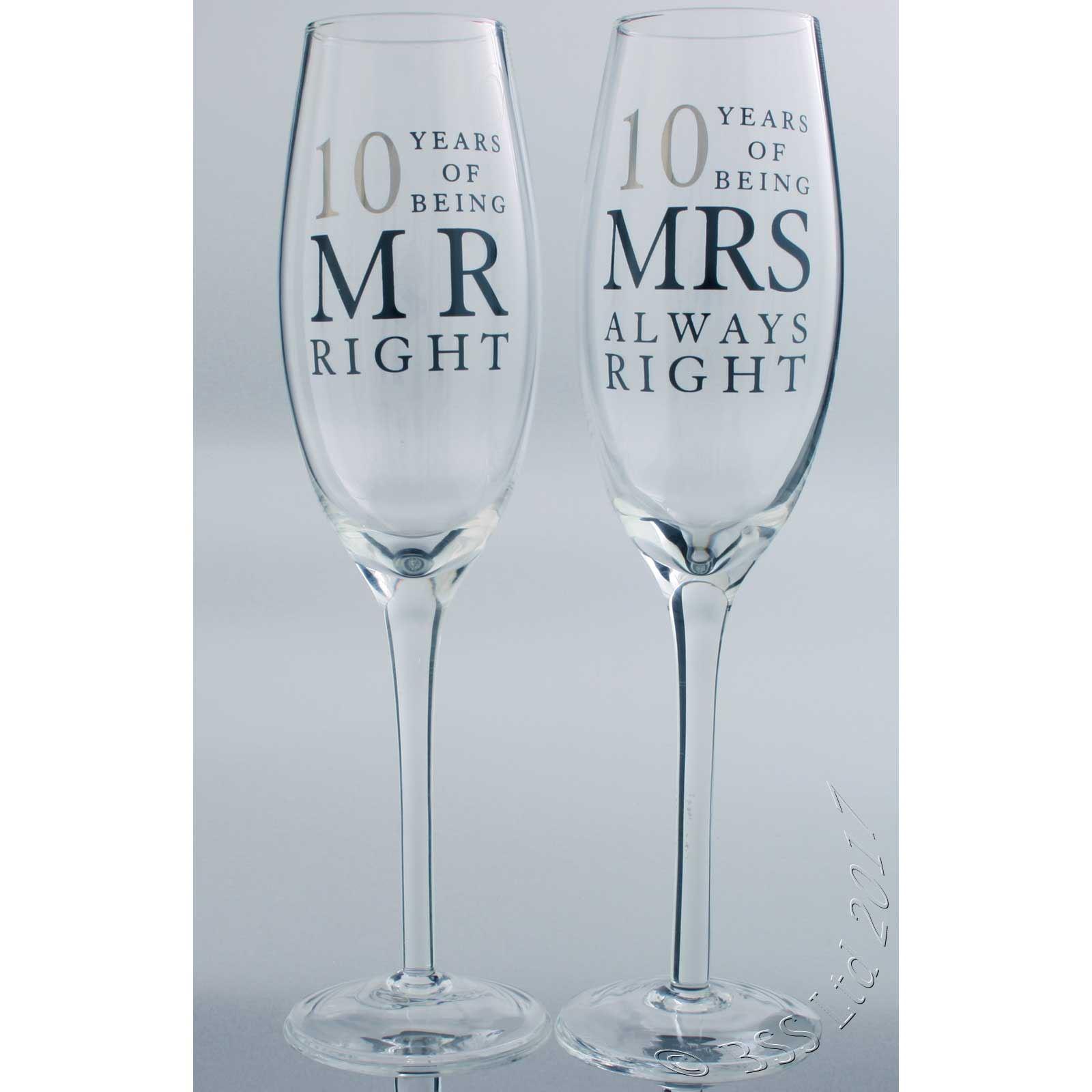 10th Wedding Anniversary Mr & Mrs Right Champagne Glasses Gift Set ...