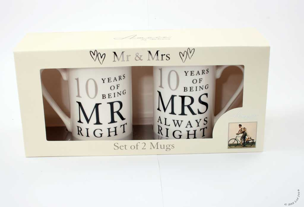 10 Years Wedding Anniversary Gift Ideas: Wedding Anniversary Gift Set, Mr/Mrs Right Mugs 10th 25th