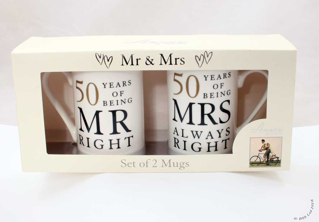 Fiftieth Wedding Anniversary Gifts: Wedding Anniversary Gift Set, Mr/Mrs Right Mugs 10th 25th