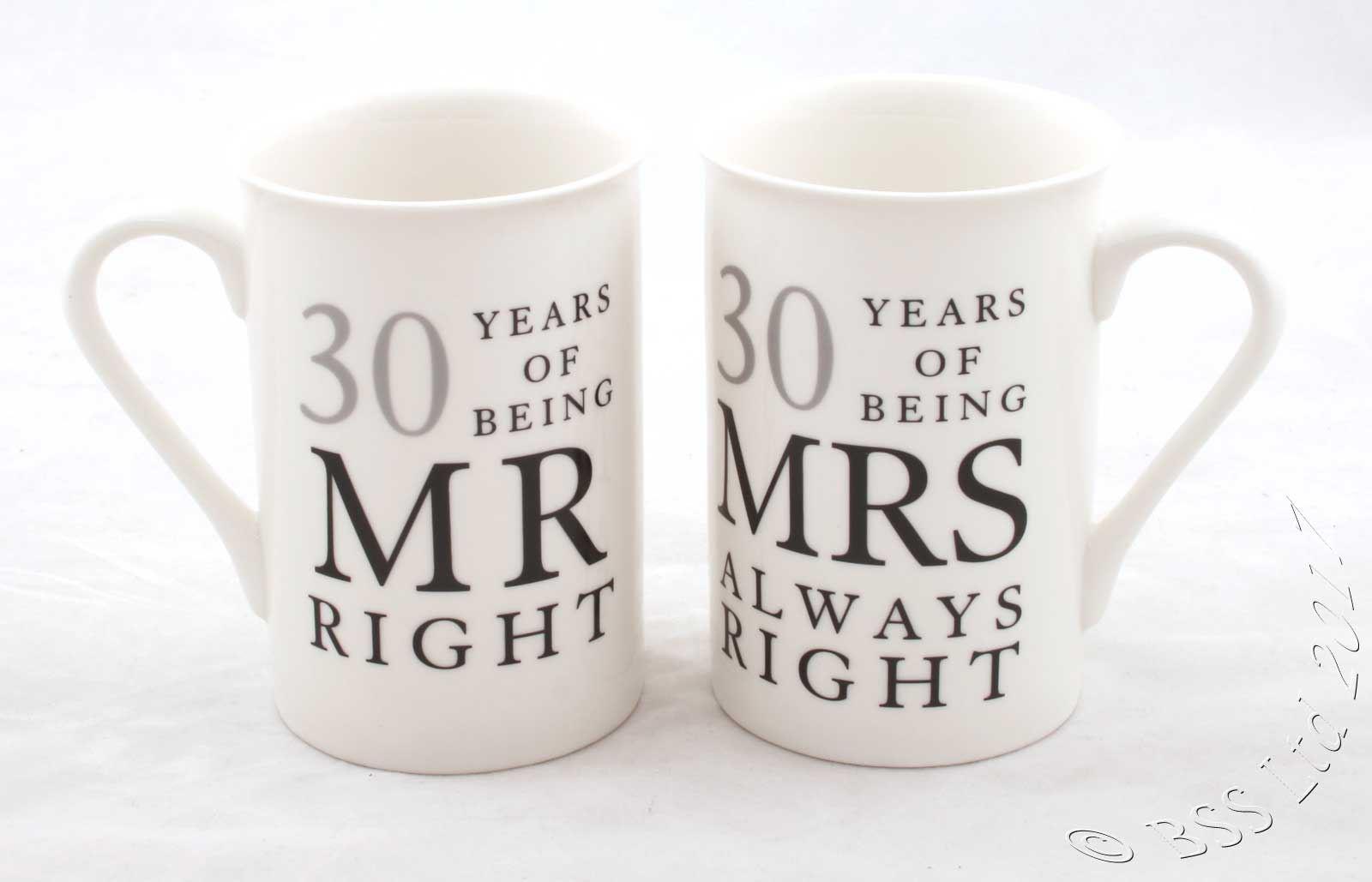 30 Wedding Anniversary Gifts: Wedding Anniversary Gift Set, Mr/Mrs Right Mugs 10th 25th