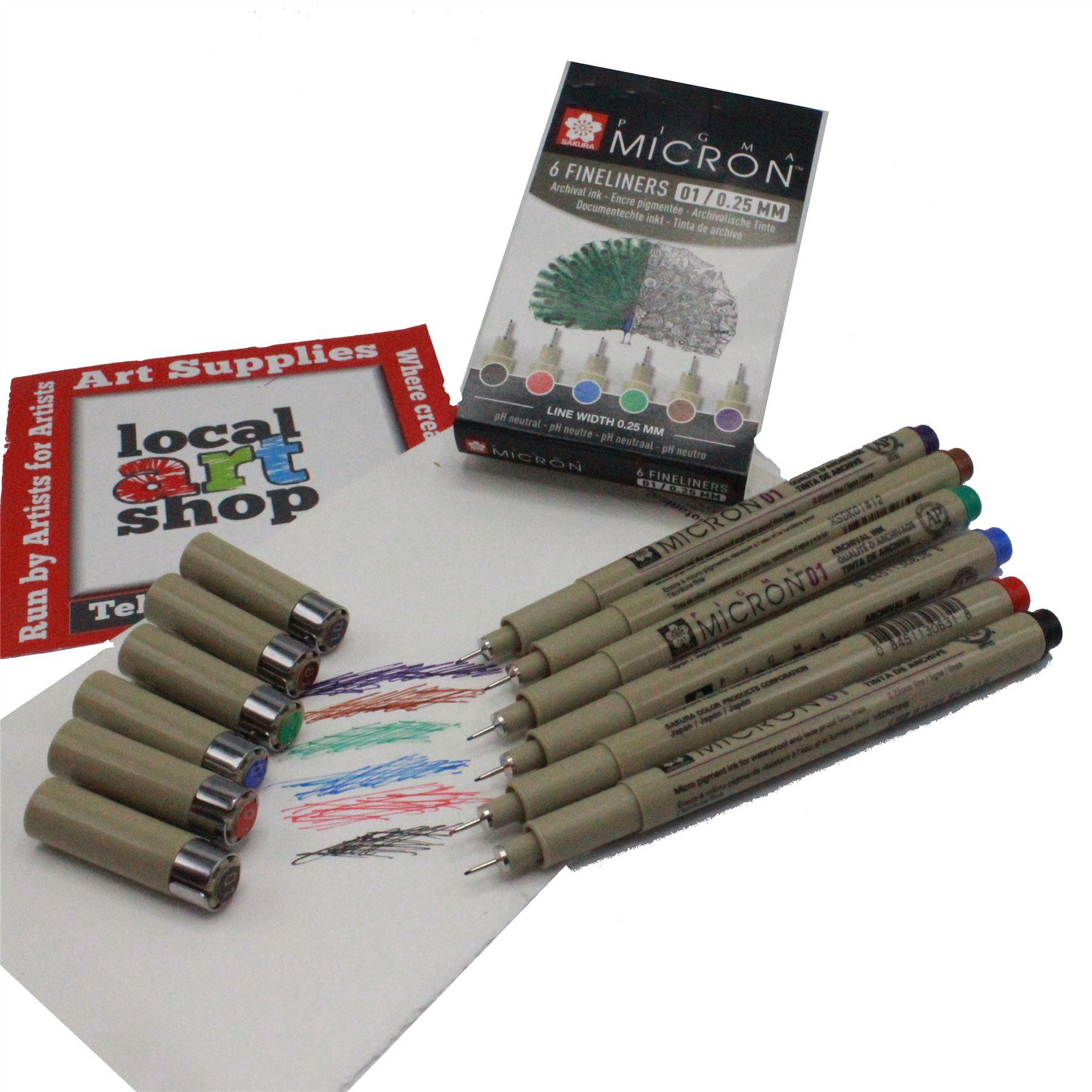 0.25mm colour fineliner Sakura Pigma micron pen set 6 assorted colours 01