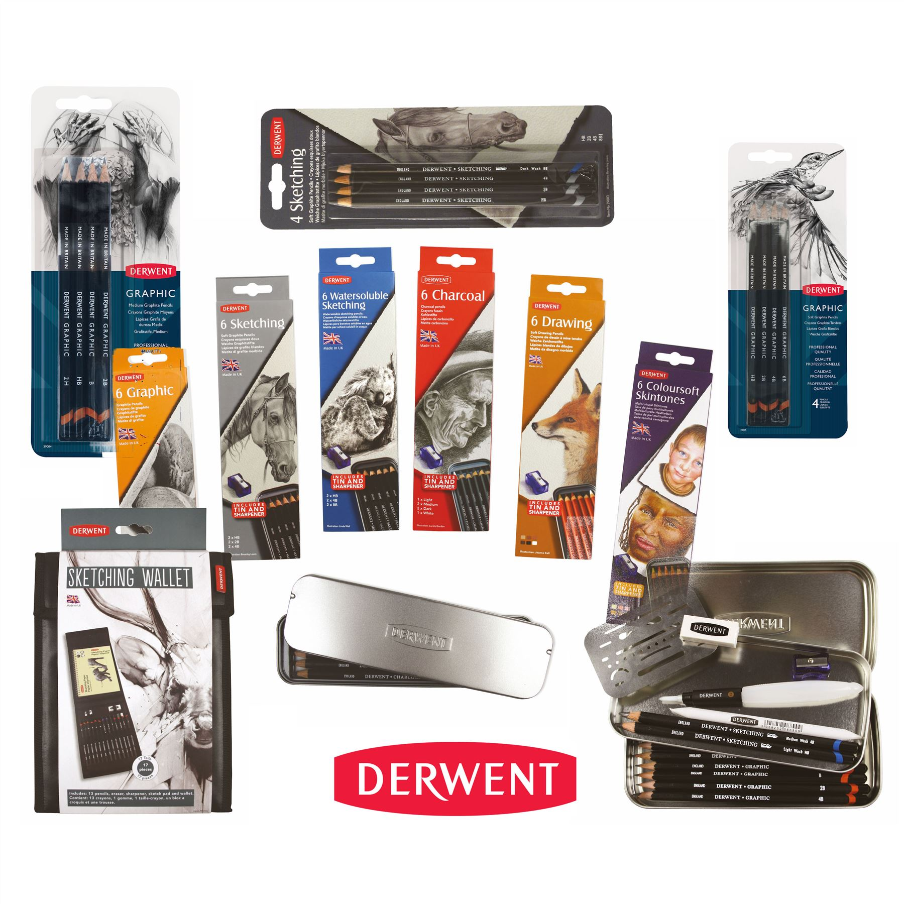 Derwent ProfessionalSketching Pencils 6 Tin Set of 2 x HB 4B with Sharpener 2B