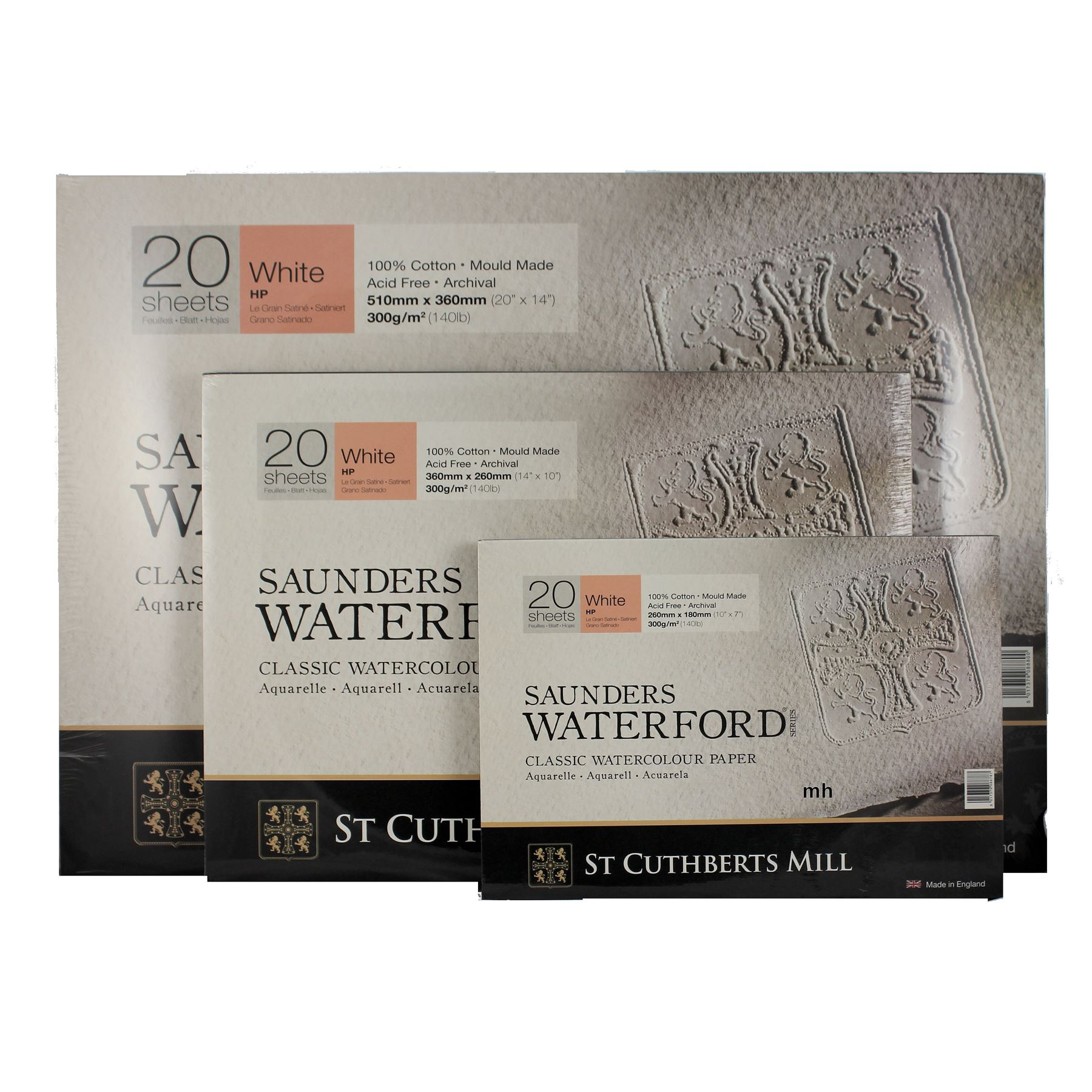 Bockingford Watercolour Paper White Smooth 300gsm 10x7 12 sheets
