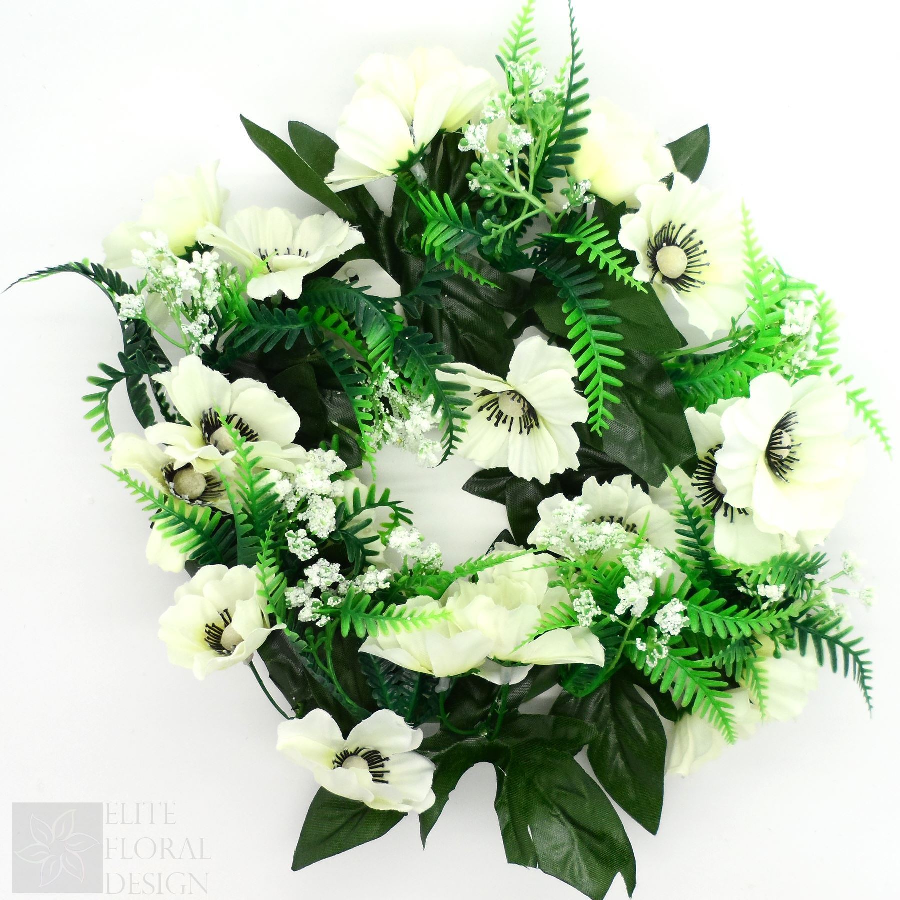 Silk Artificial Flower Wreath Ivory Anemone And Fern Grave