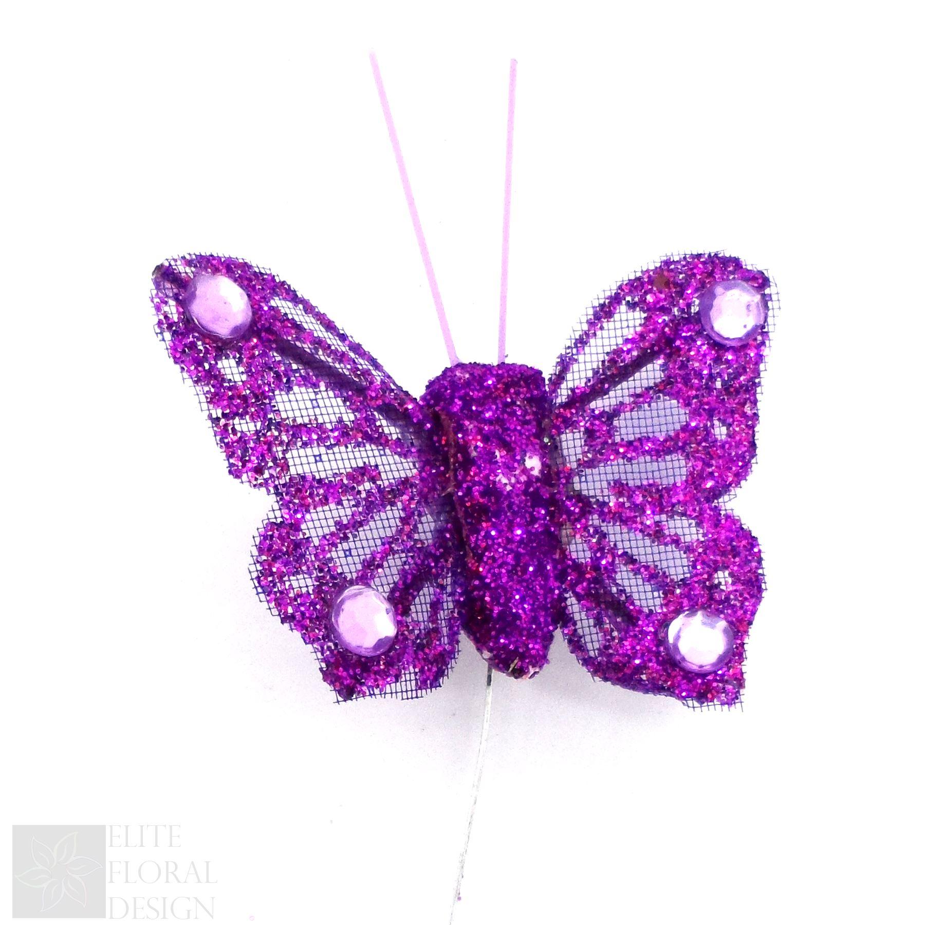 4cm organza butterfly glitter butterflies flower decoration 20cm