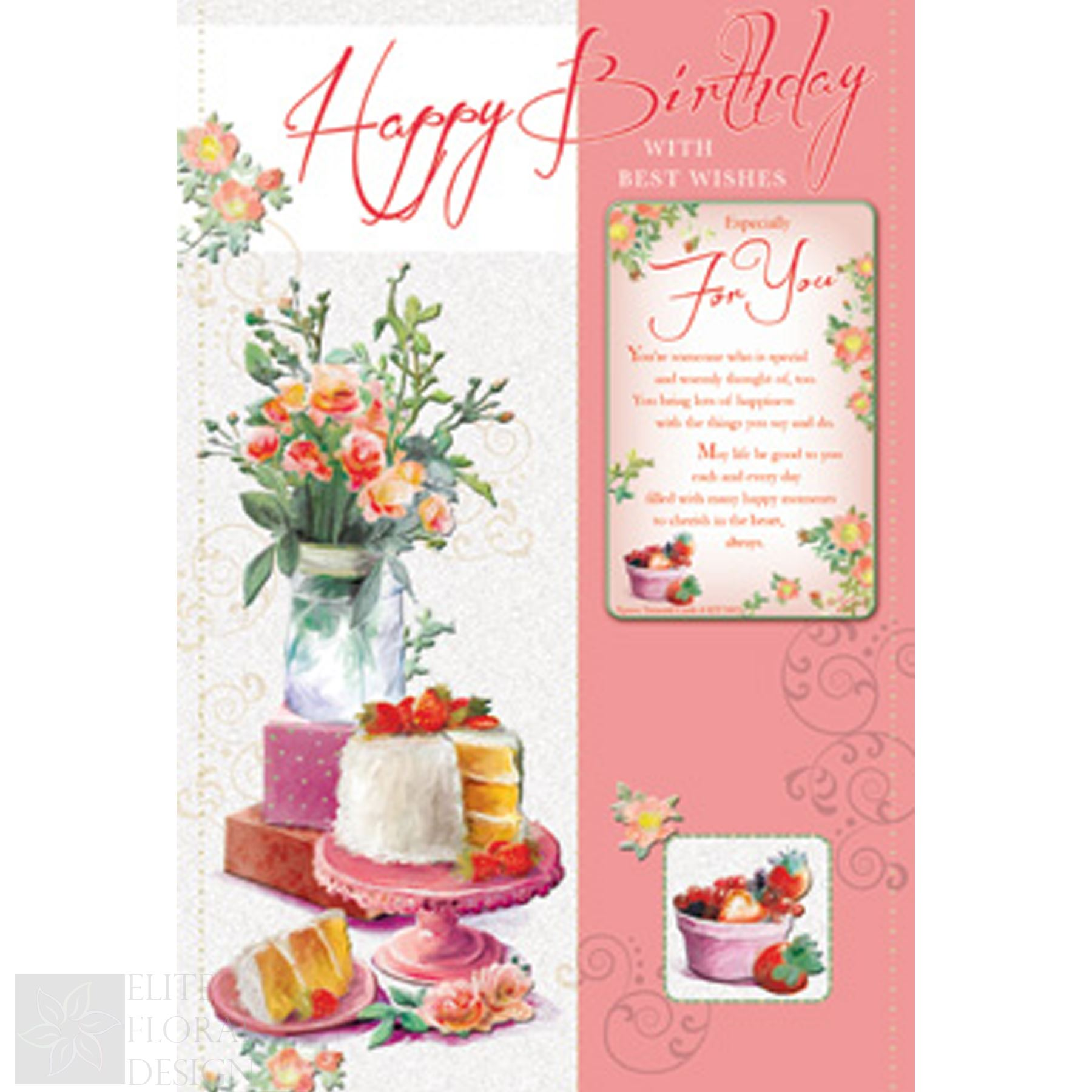 Terrific Happy Birthday Greeting Card With Best Wishes Cake And Flowers Birthday Cards Printable Trancafe Filternl