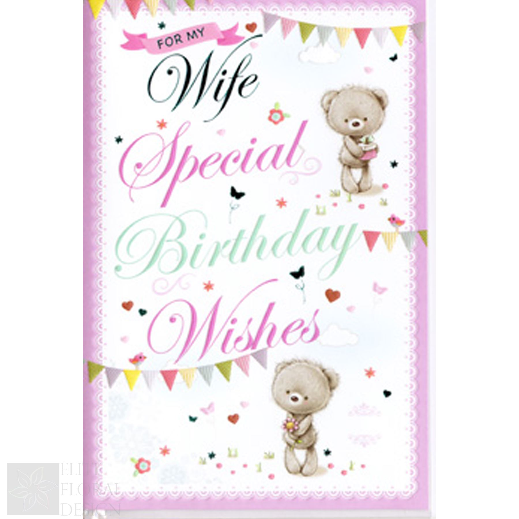 Details About Happy Birthday Greeting Card For My Wife Special Wishes Two Teddies