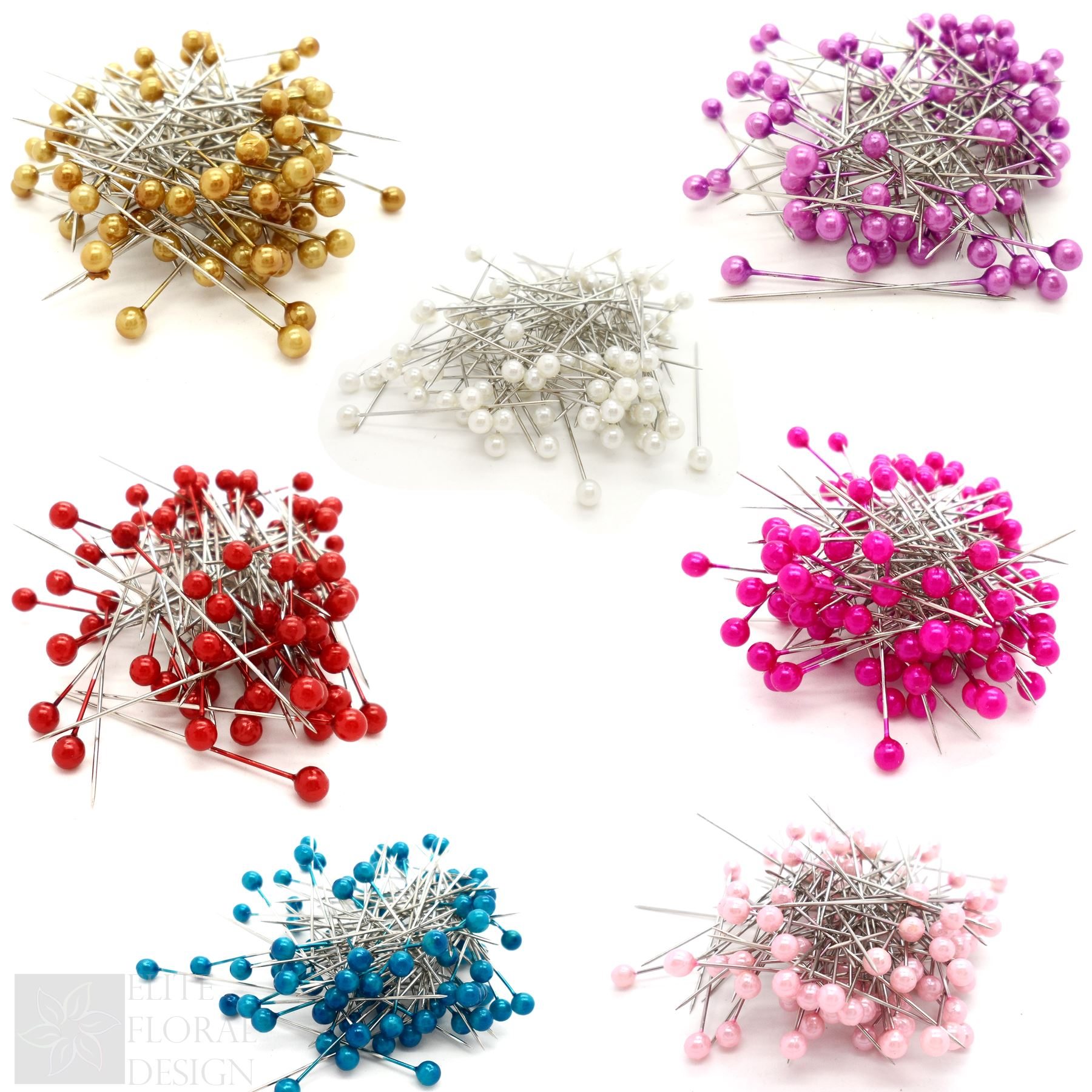 100 Pearl Pins Dress Making Crafts Corsage Florist Heads Bouquet Sewing Pins