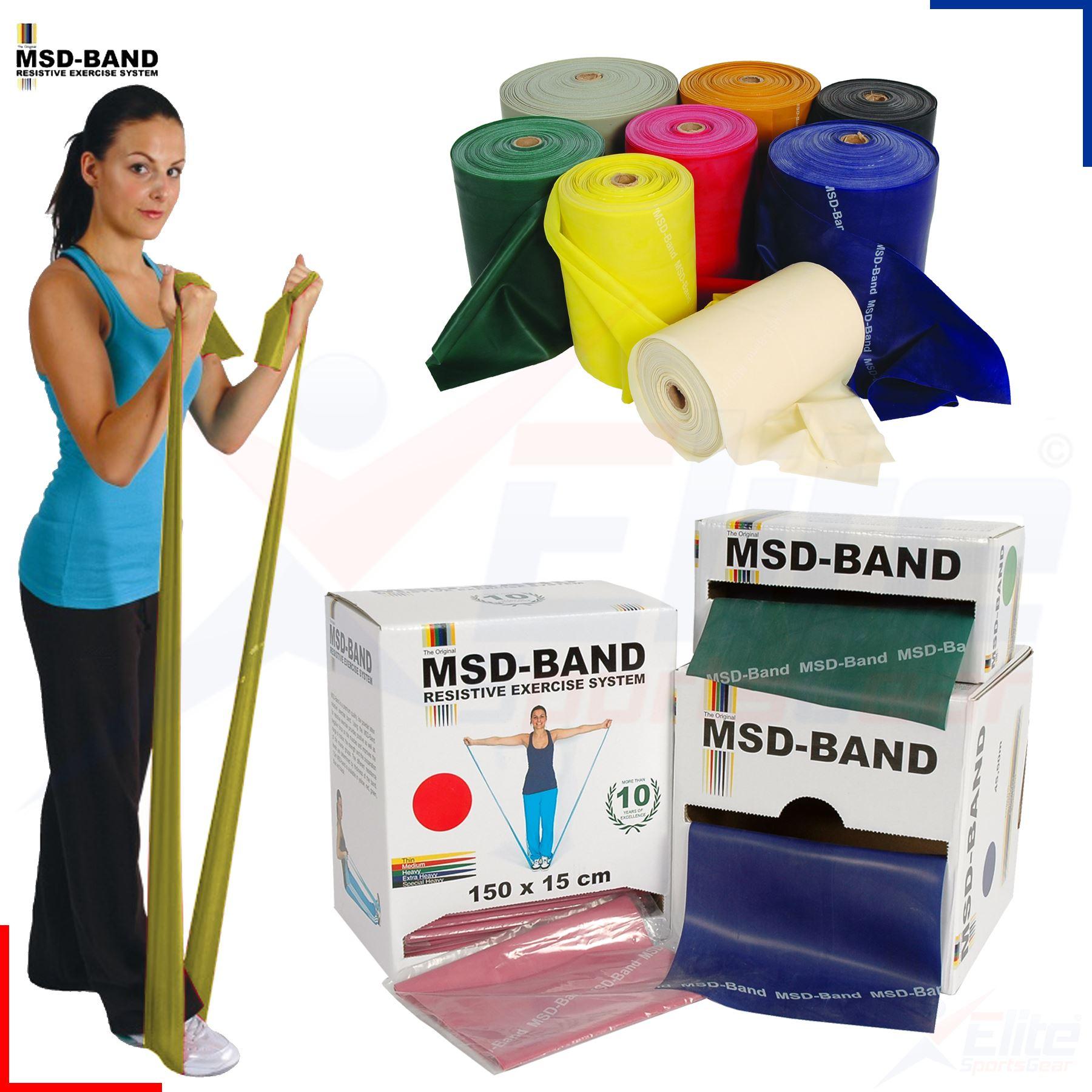 MSD Fitness Band Resistance Pilates Yoga Physio Exercise 2,5m Various Colours