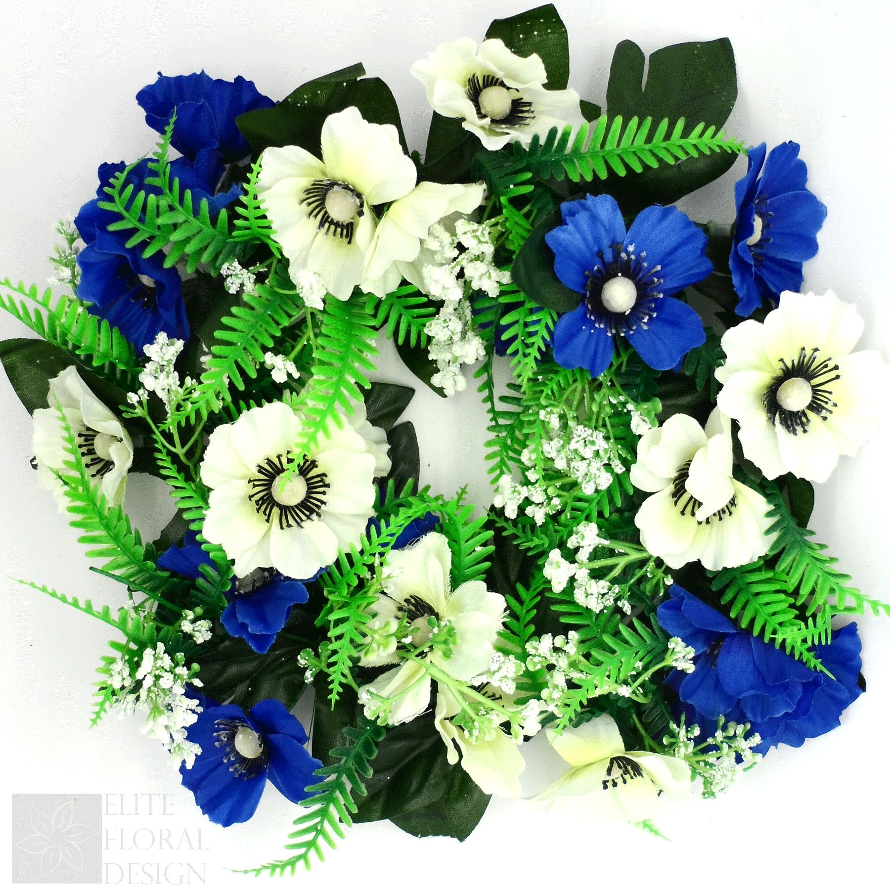 Silk Artificial Flower Wreath Ivory Blue Anemone And Fern Grave