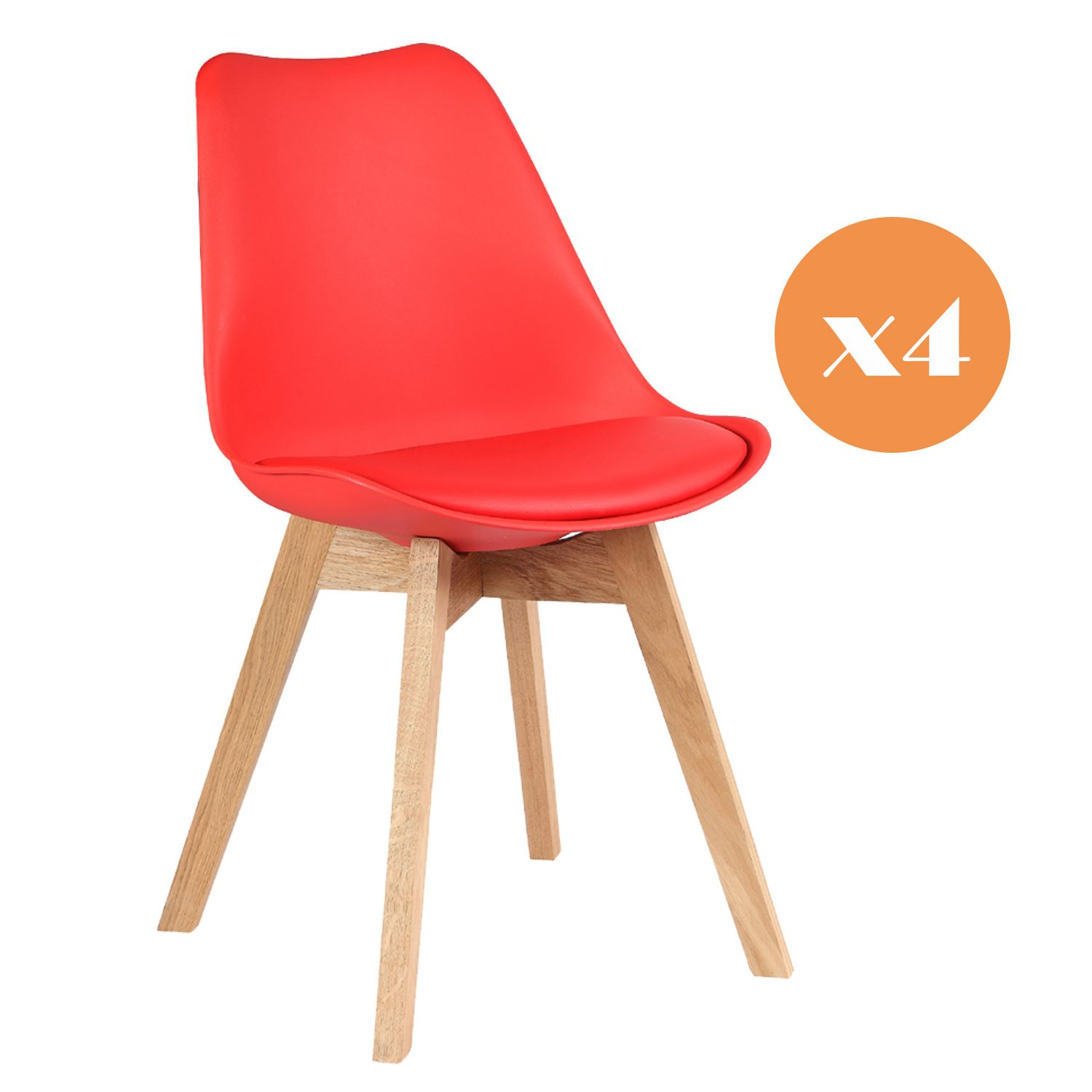 mmilo set of 4 tulip dining office chair with solid wood