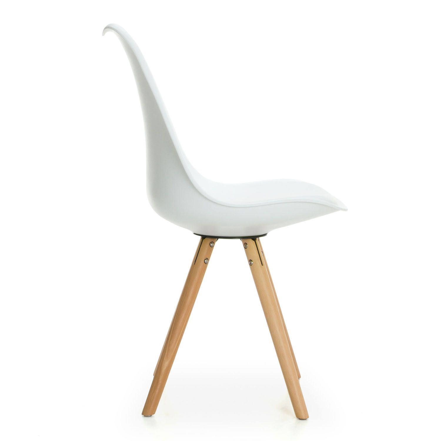 Set of 2 Tulip Star Dining chair with Wood Legs and Cushion