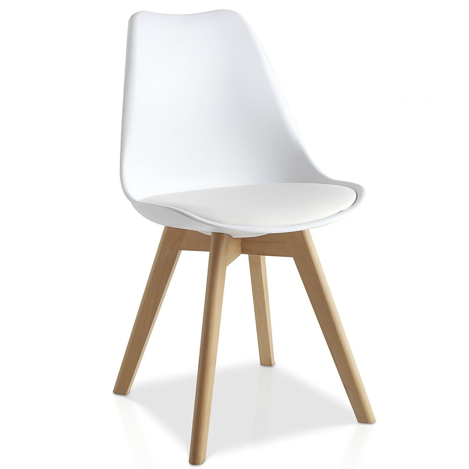 Tulip Dining Chair With Solid Wood Legs PU Leather Cushion ...