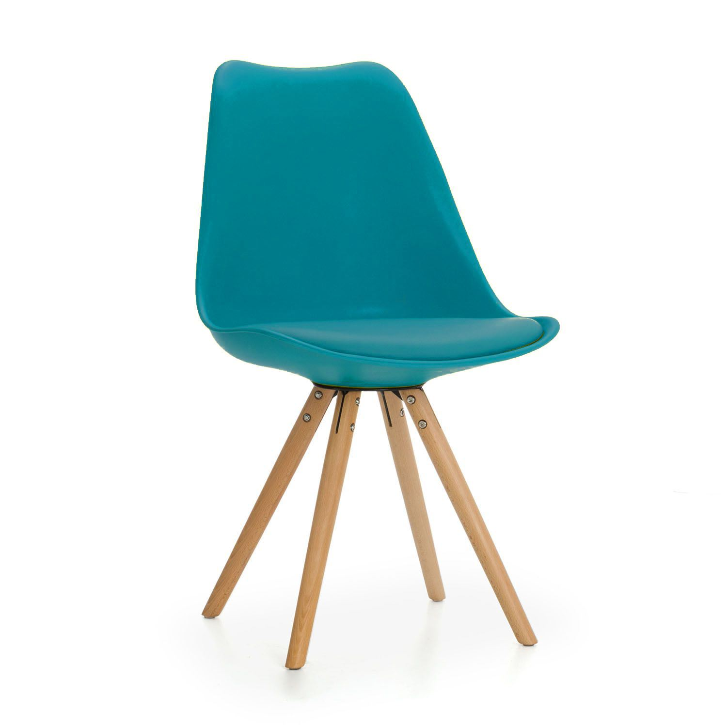 Tulip Star Dining chair with Cushioned Contemporary & Wood Legs