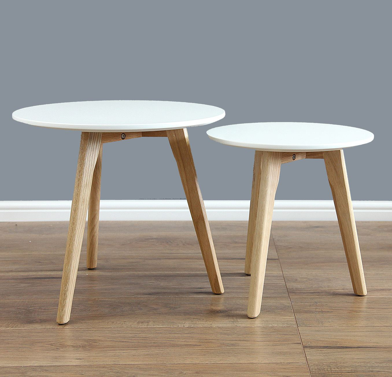 Round Coffee Table Pair: Scandinavian Nest Of Table Nesting Table Round Set In Pair