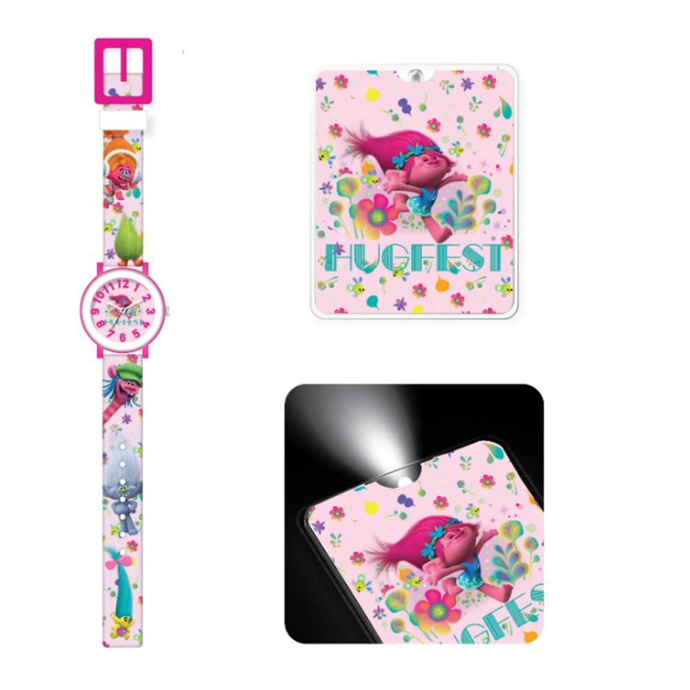 NEW-Trolls-Hugfest-Kids-Childs-Girls-Analogue-Watch-and-Torch-Gift-Set-Poppy