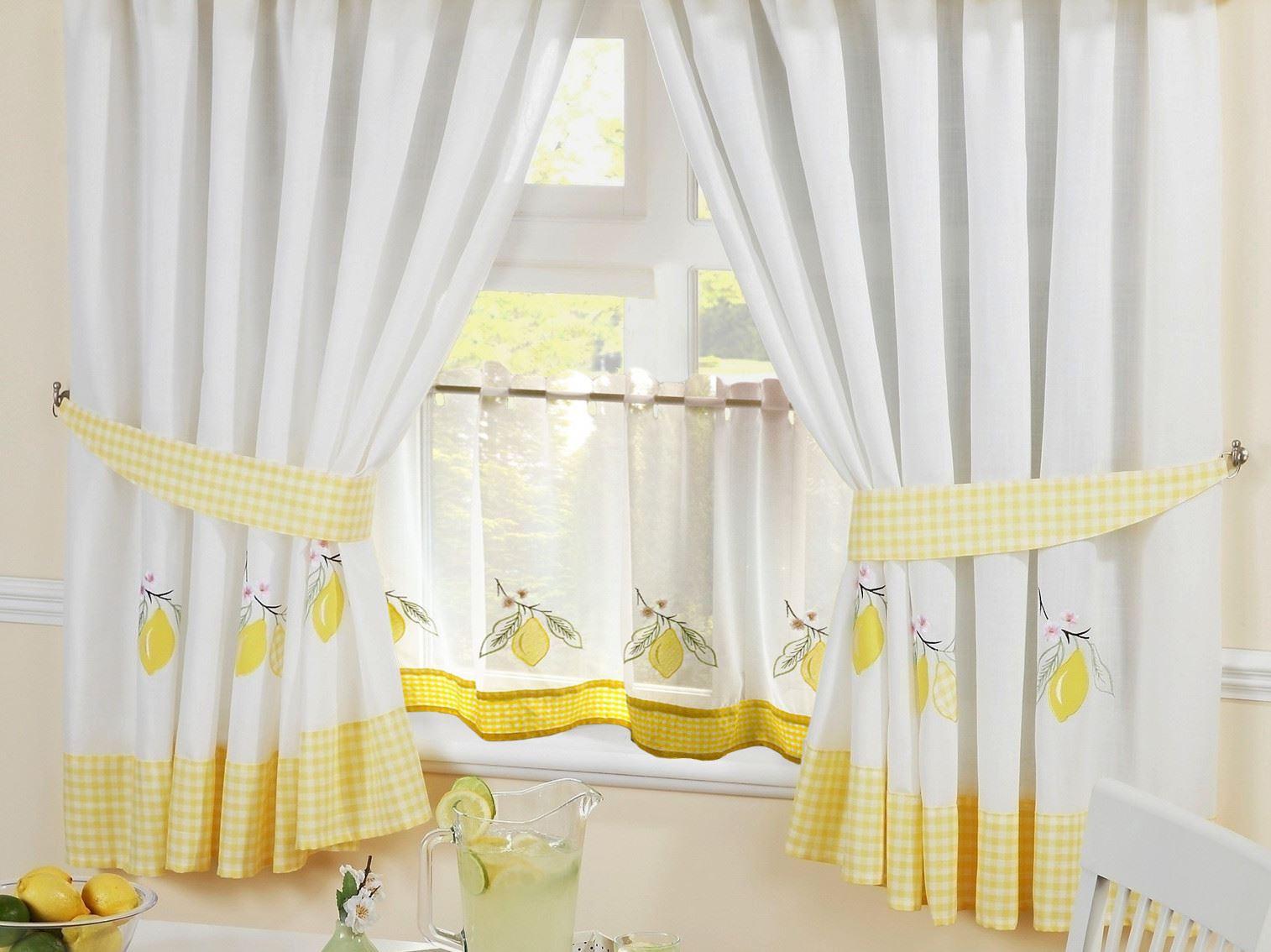"lemon gingham kitchen embroidered kitchen curtains & 18"" cafe panel"