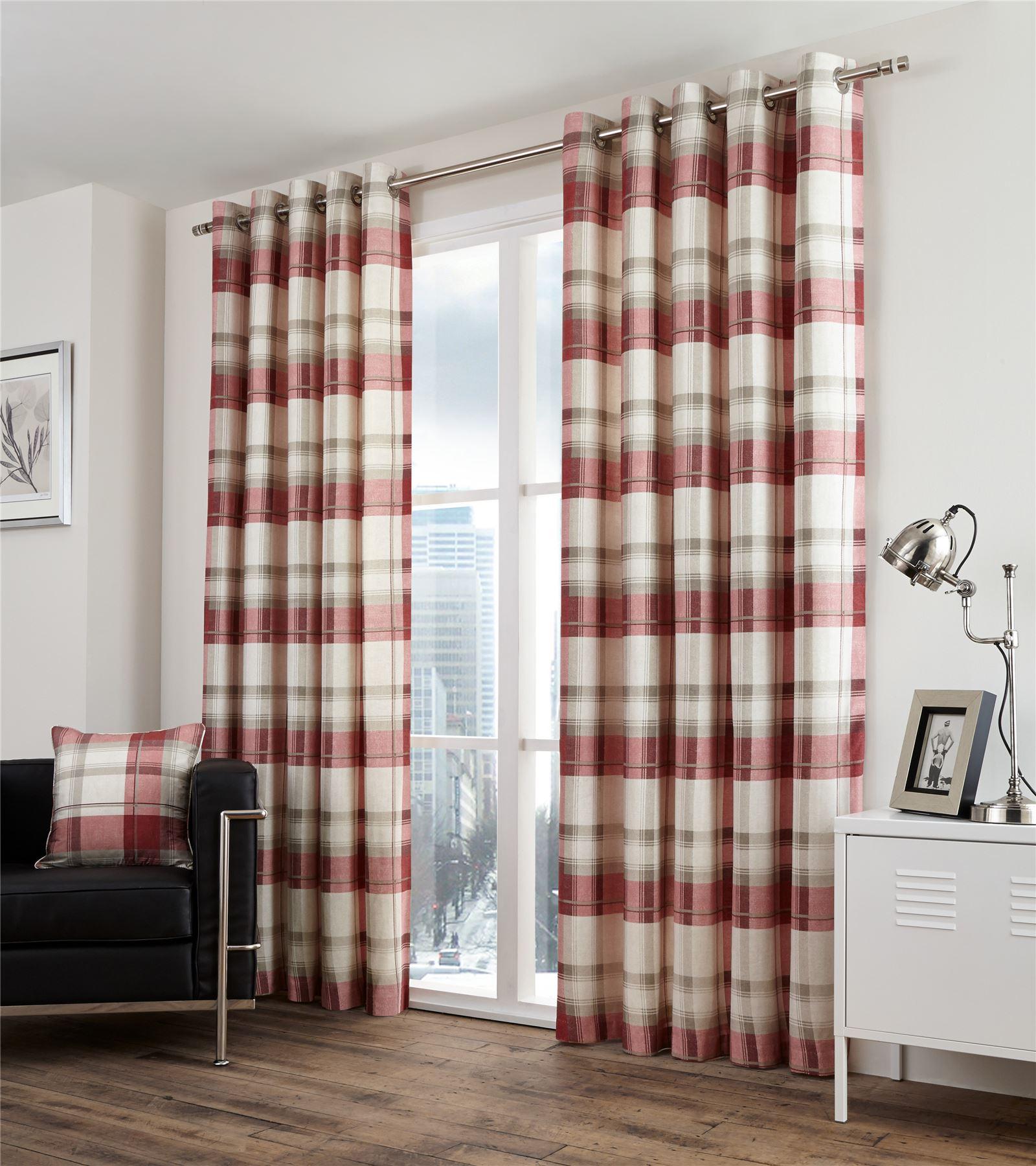 Plaid carreaux doublé rouge beige doublé carreaux 100% coton rideaux à anneaux  7 tailles 700f6d