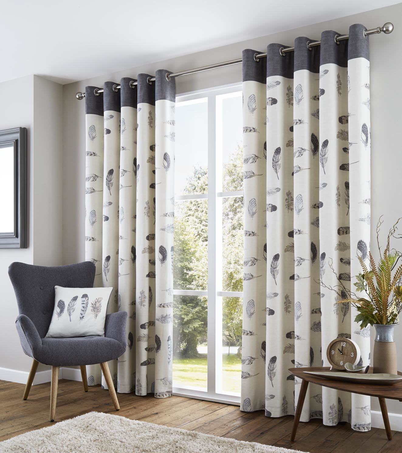 FEATHER GREY CREAM BEIGE WHITE LINED 100% COTTON RING TOP CURTAINS ...
