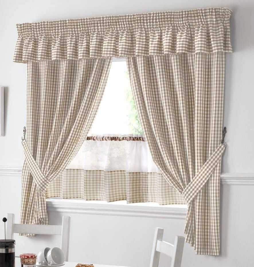 "BEIGE AND WHITE GINGHAM KITCHEN CURTAINS PELMET & 18"" CAFE"