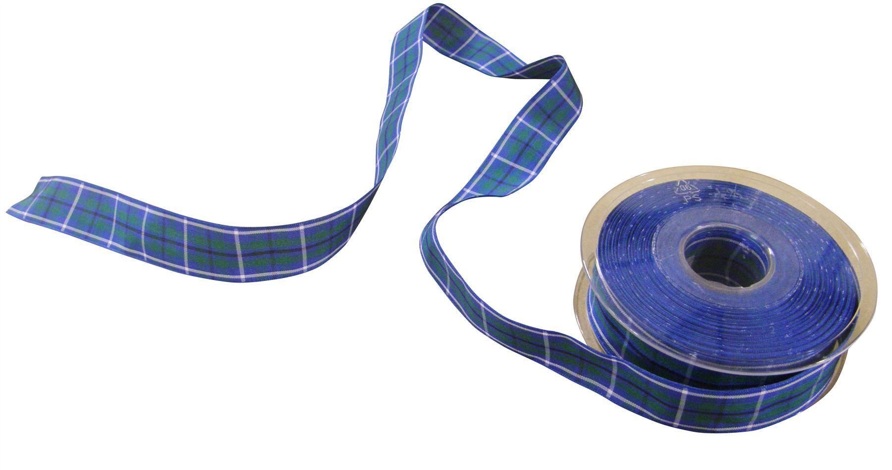 Ruban gros grain bleu écossais Mickey Minnie dans coeur Love de 25 mm au mètre